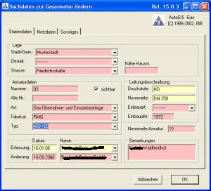 GIS Gas Armaturdaten
