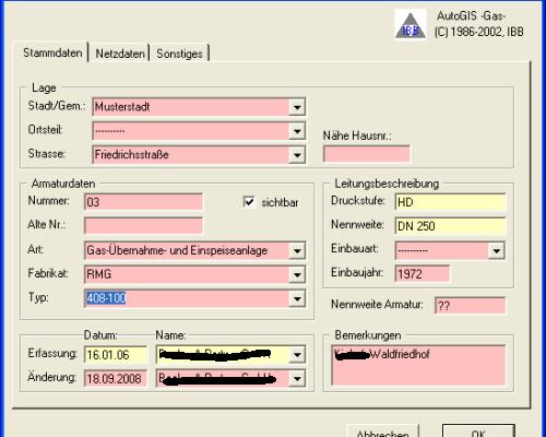 AutoGIS Gas Armaturdaten