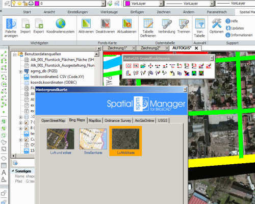 Spatial Manager Luftbild als Hintergrundkarte