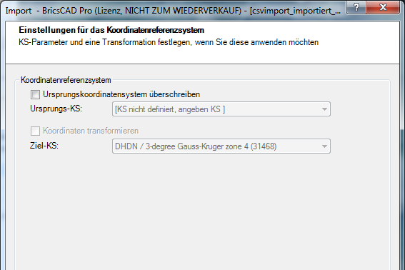 Prameter der Transformation (optional)