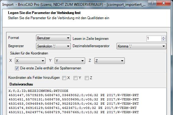 ASCII Parameter der Punktdatei