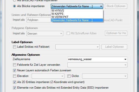 Block für den ASCII-Import wählen