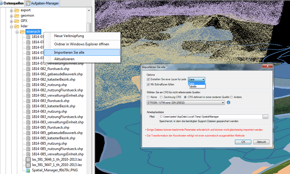 Batch Import von Geodaten in BricsCAD