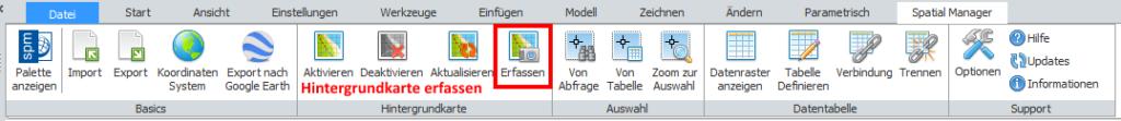 Screenshot: Werkzeuge Hintergrundkarten in BricsCAD