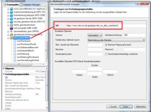 Parameter um WFS Daten in BricsCAD DWG mit dem Spatial Manager zu importieren